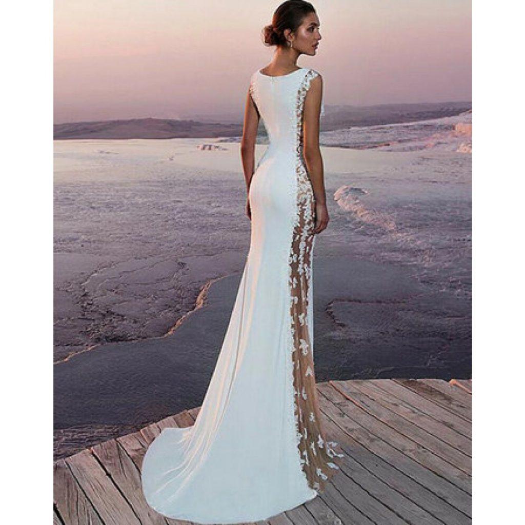 Slim Fit Floral Standesamt Kleid Hochzeitskleid In Weiß ...