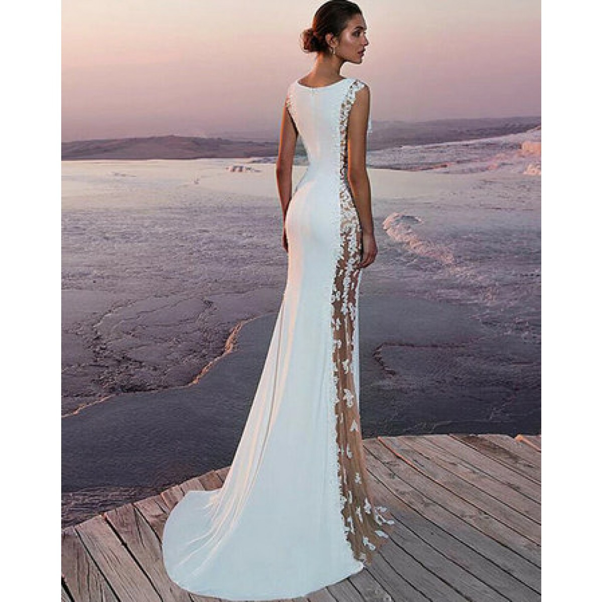 Slim Fit Floral Standesamt Kleid Hochzeitskleid In Weiß