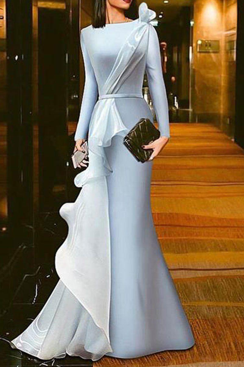 Solid Color Gauze Stitching Evening Dress | Abendkleider