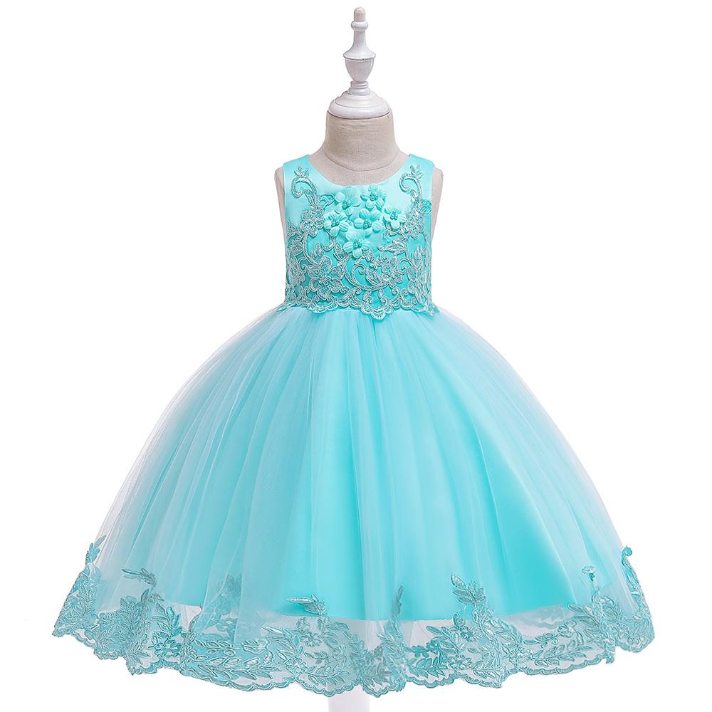 -Spitze-Mädchen-Kleid-Party-Mädchen-Sommer-Kleider Geburtstags-Prinzessin  Hochzeit Brautjungfer Baby Kleider Vestidos 3-10 Jahre L5097 Y200102