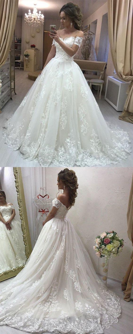 Spitze Schulterfrei Tüll Brautkleider Prinzessin Kleid
