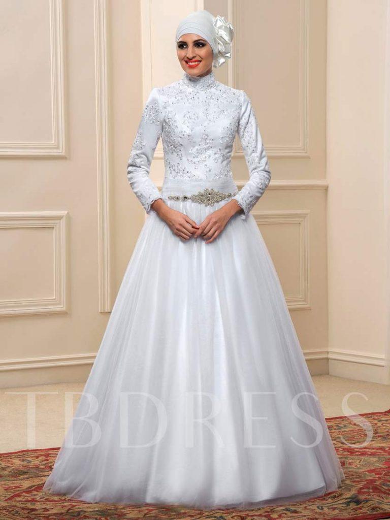Spitze Tüll Sicken Flügelhülselang A- Linie Kleid - Abendkleid