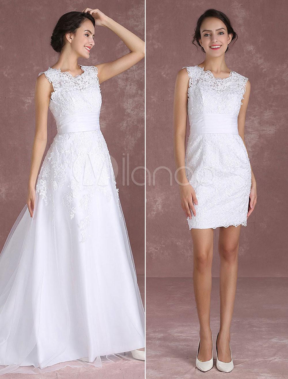 Spitzenbrautkleid 2020 Hochzeit Kleid In Weiß Mit Falten Und Reißverschluss  Satingewebe Mit Schleppe