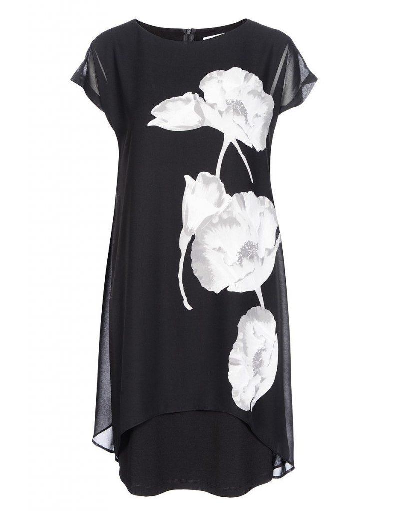 Steilmann Chiffon-Jersey-Lagenkleid Mit Platziertem - Abendkleid