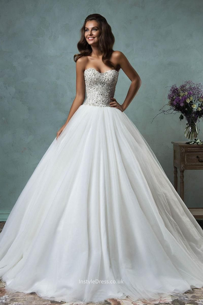 Strapless Sweetheart Sparkly Beaded Tulle Ball Gown Wedding