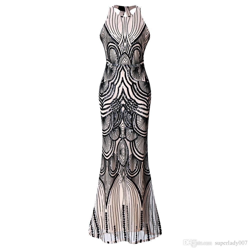 Theeb25 Damen Elegant Abendkleid Pailletten Cocktailkleid
