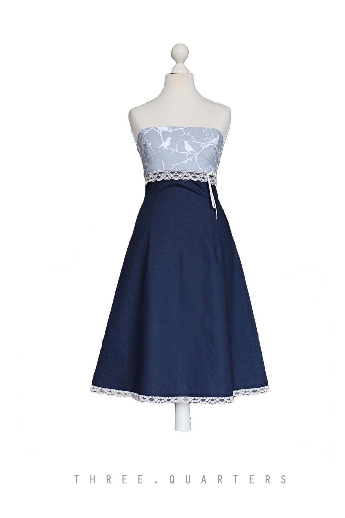 Three-Quarters - Kleid, Dunkelblau, Hochzeit, Braut
