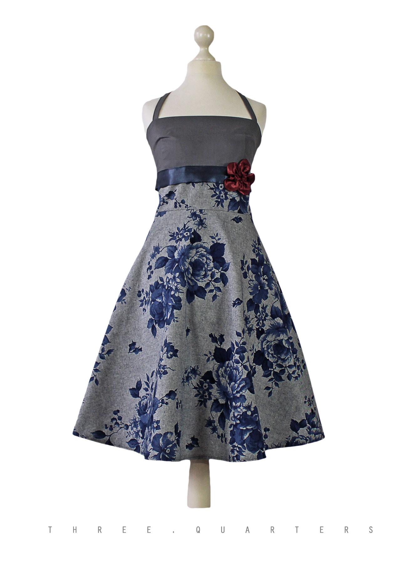 Three-Quarters - Kleid, Rosen, Hochzeit, Sommerkleid, Blumen