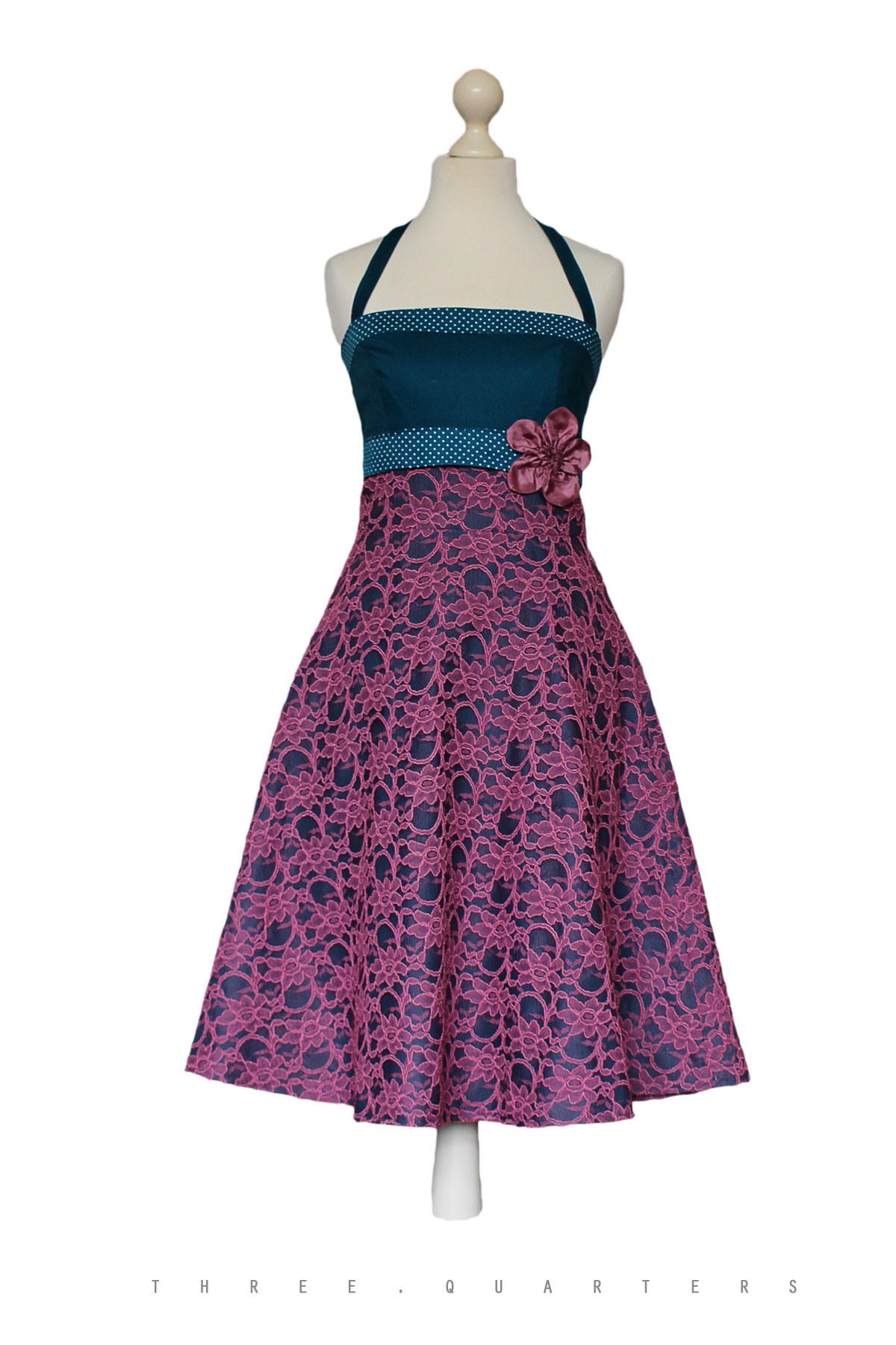 Three-Quarters - Kleid, Sommerkleid, Petrol, Spitze