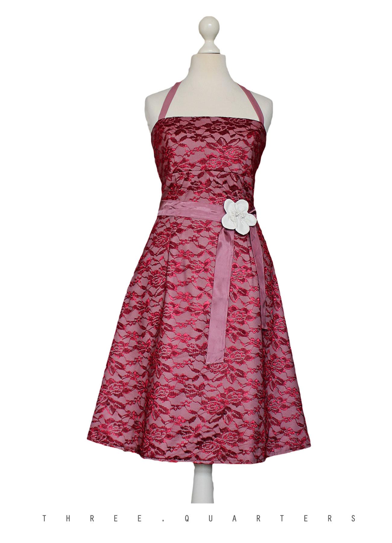 Three-Quarters - Kleid, Spitzenkleid, Hochzeit, Dunkelrot