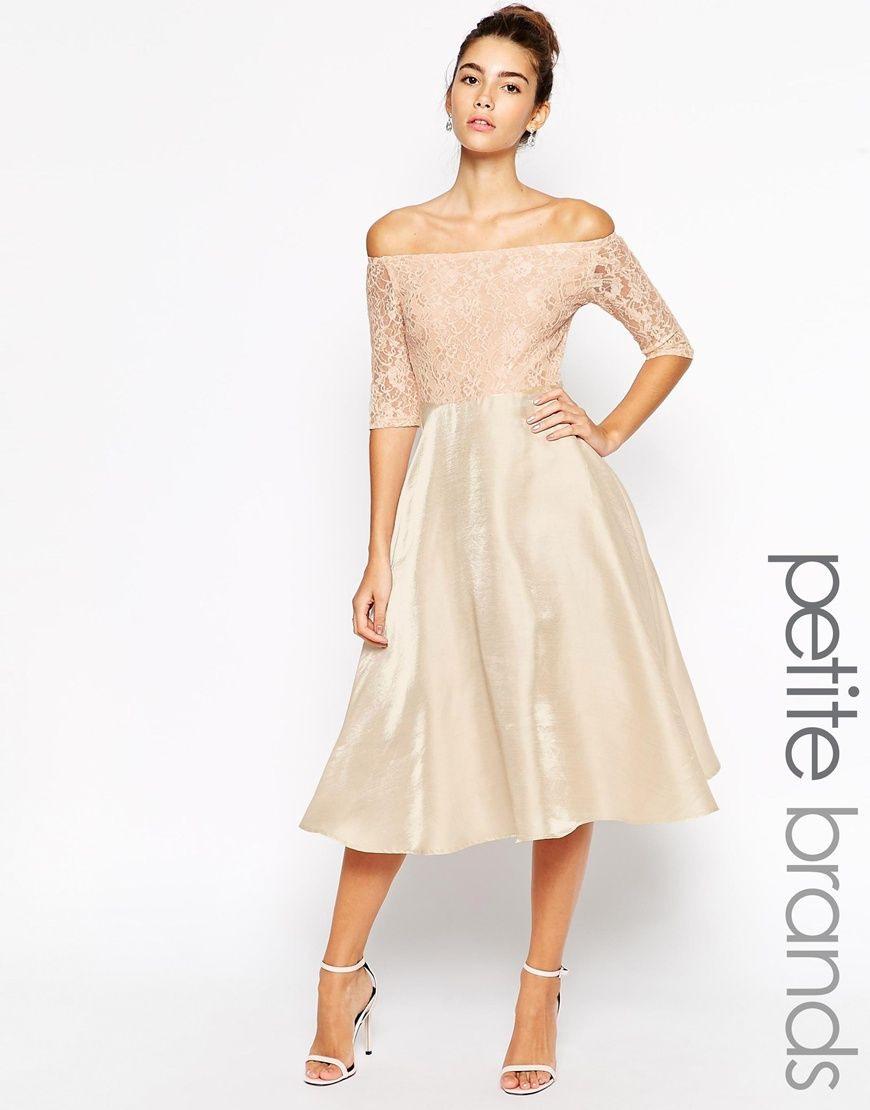 True Decadence Petite Lace Bardot Midi Prom Dress | Weißes