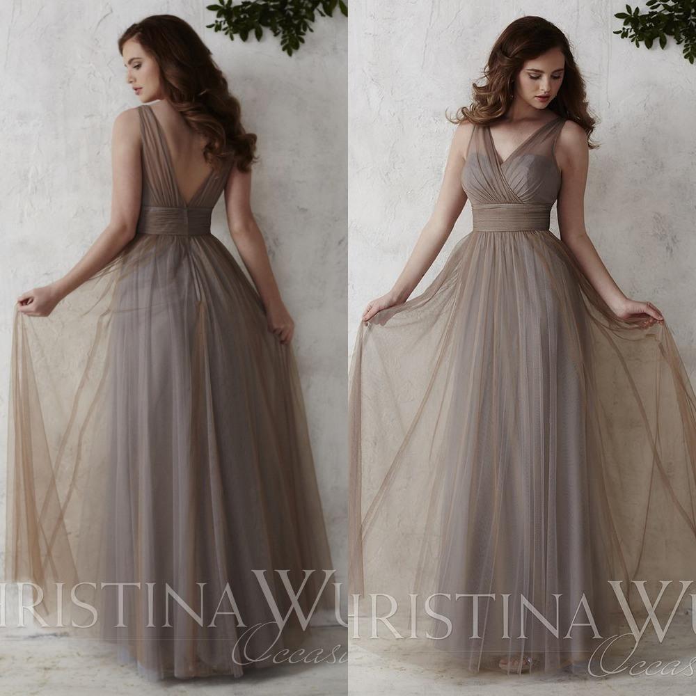 Tüll V Ausschnitt Brautjungfer Kleid Lange Brautjungfern