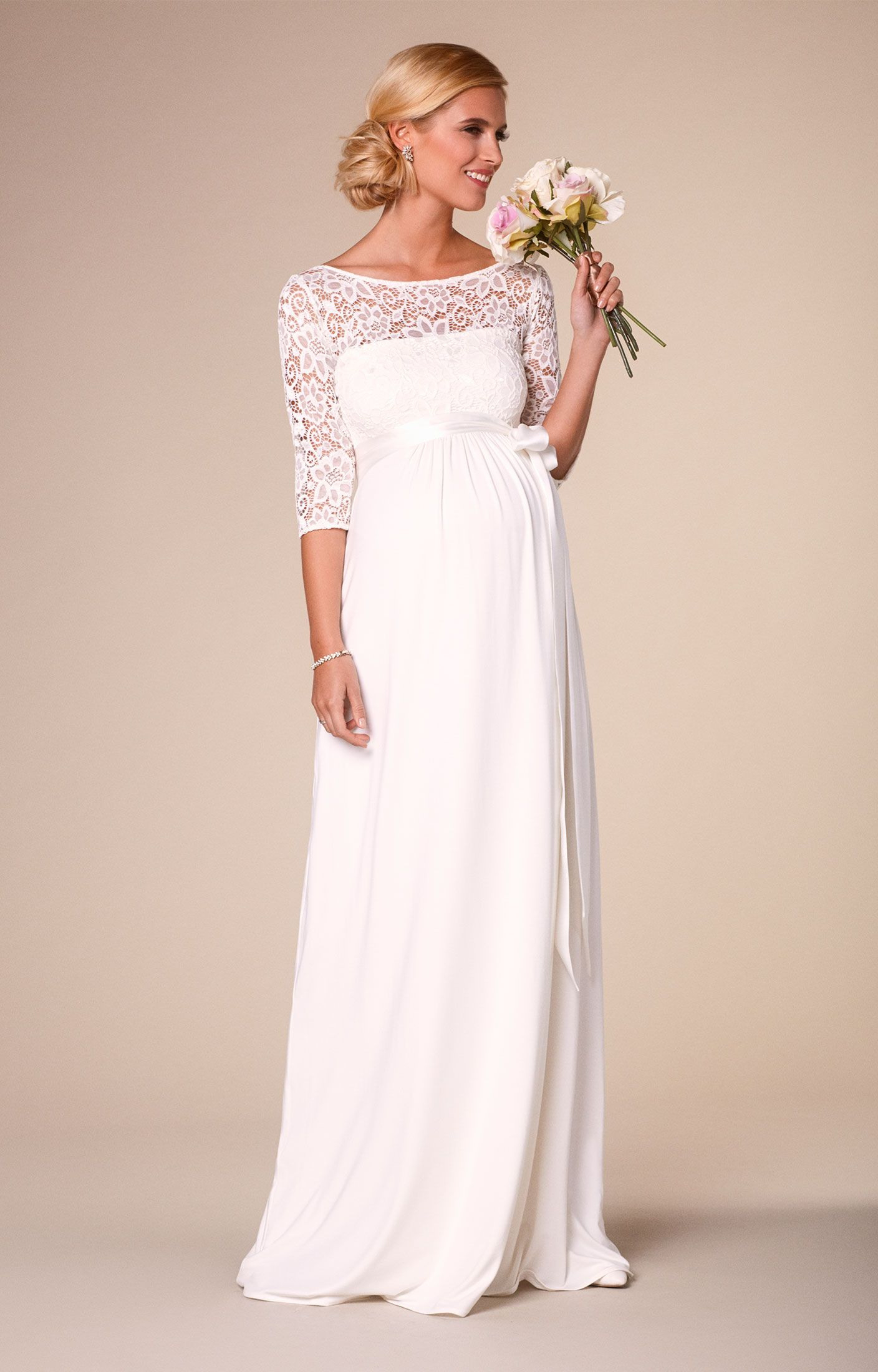 Umstands-Brautkleid Lucia Lang In Elfenbein / Weiß - Abendkleid