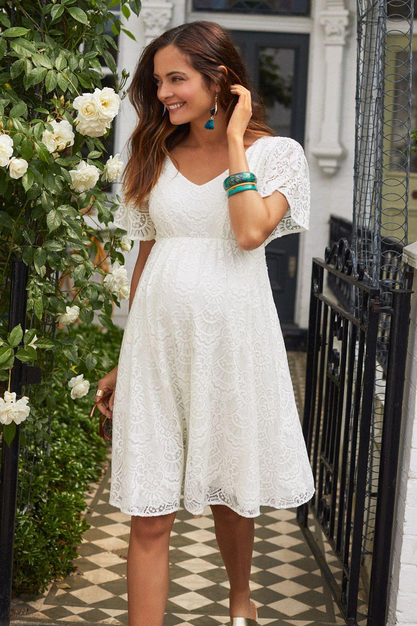 Umstandsbrautkleid Boho Style Elfenbein | Kleid Spitze