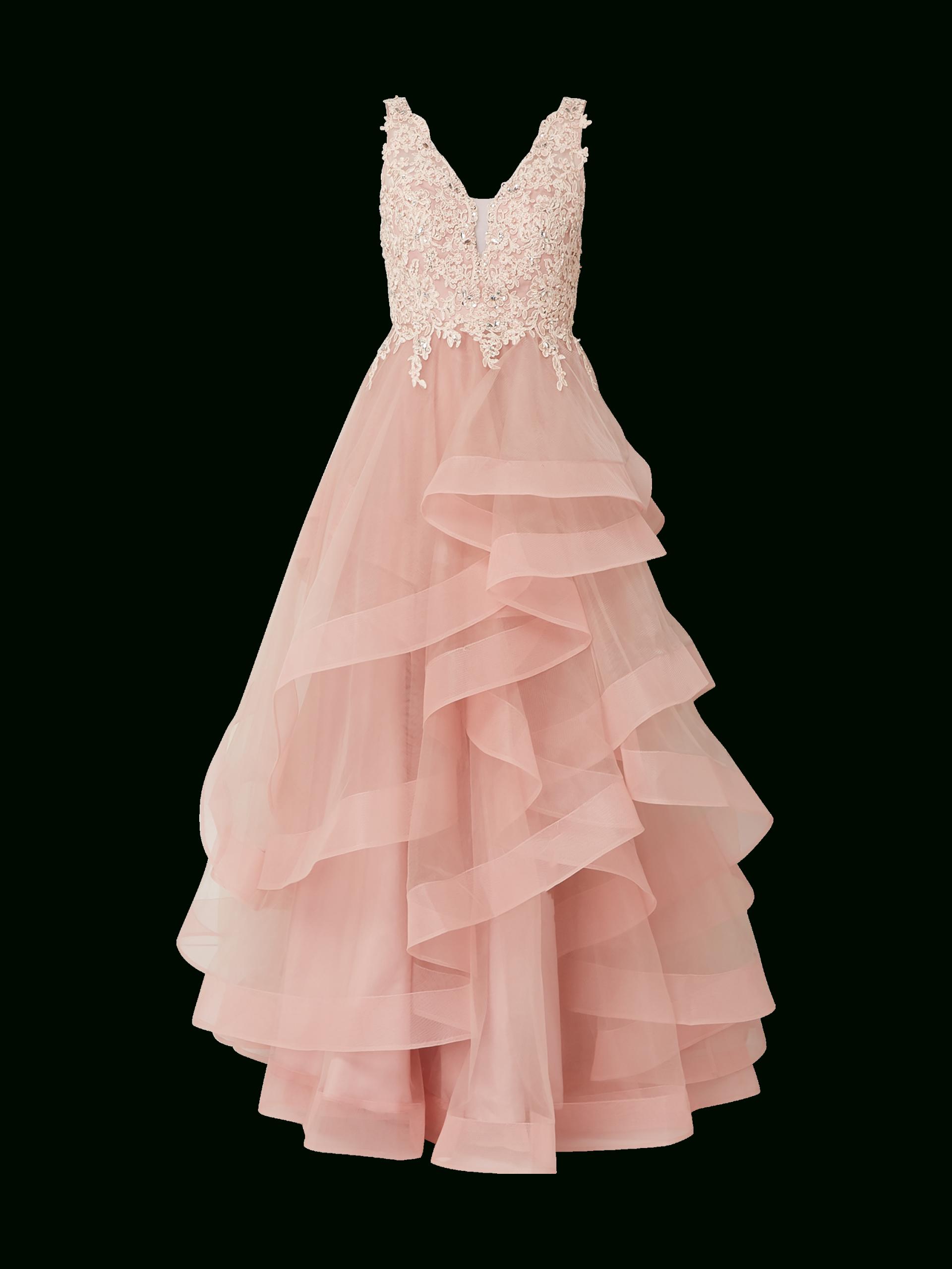 Unique – Abendkleid Aus Tüll Im Stufen-Look – Rosa