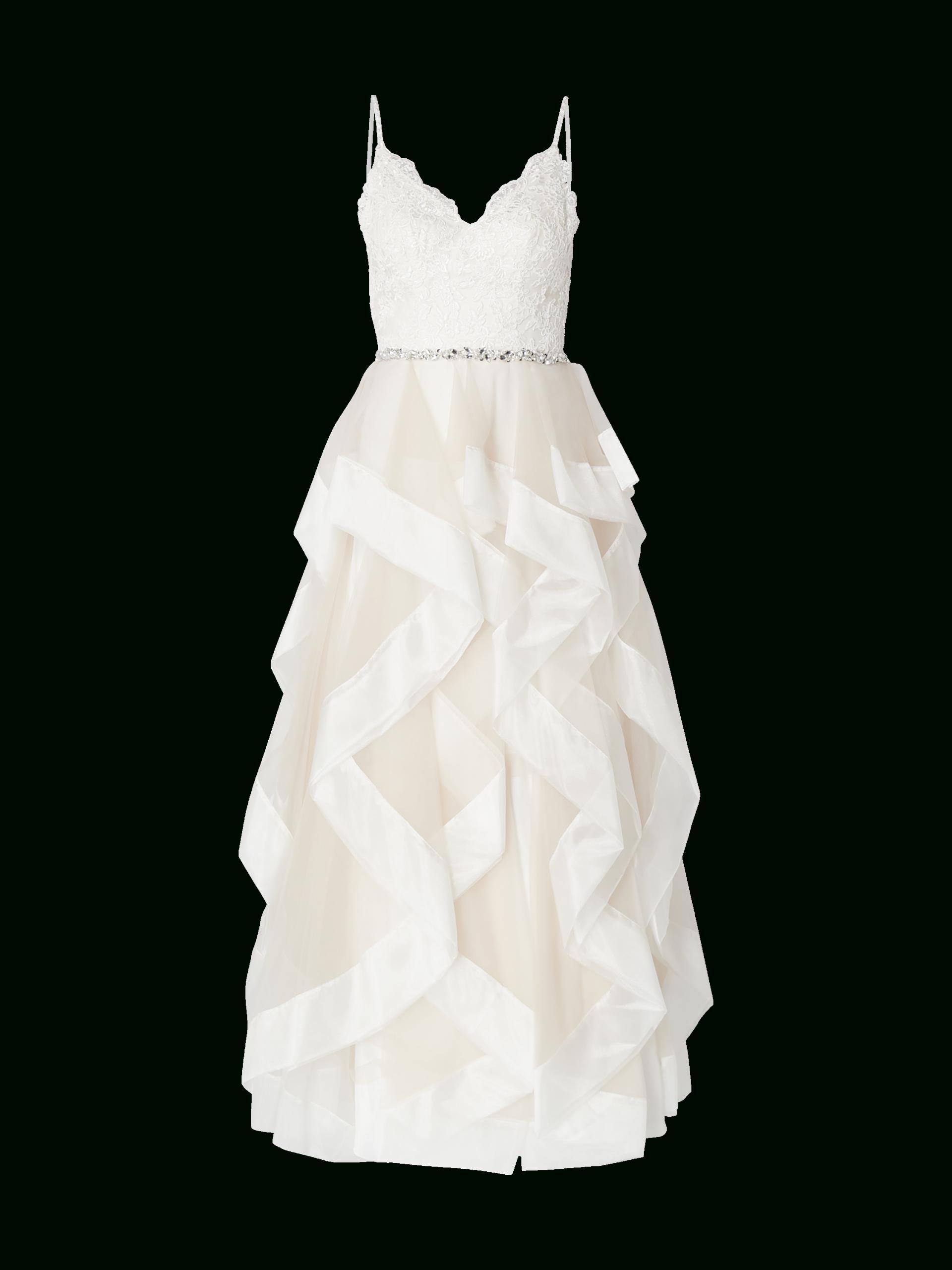 Unique – Brautkleid Aus Mesh Im Stufen-Look – Beige
