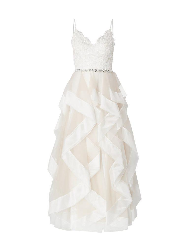 Unique Brautkleid Aus Mesh Im Stufen-Look In Weiß Online Kaufen