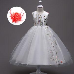 Us $10.05 33% Off|Mädchen Stickerei Floral Kinder Kleider Hochzeit Blume  Mädchen Kleid Weiß Royal Blau Schwarz Burgund Kinder Teens Kleidung-In