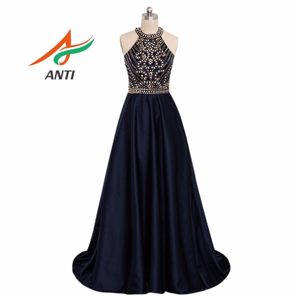 Us $107.56 15% Off|Anti Vintage Dunkelblaue Abendkleid 2018 Elegante Perlen  Festliche Kleider Promi Kleid A Line Hochzeit Halten Hqy043-In