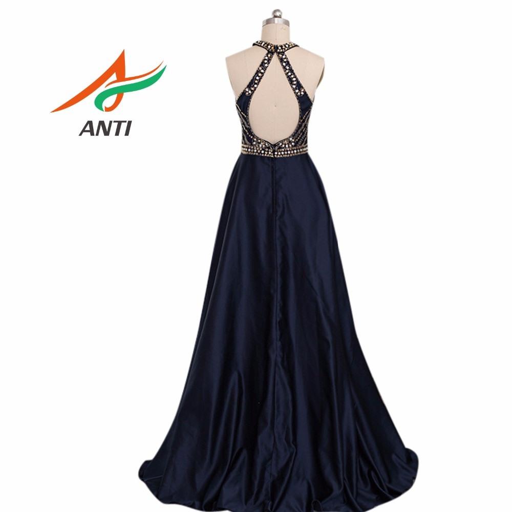 Us $107.56 15% Off Anti Vintage Dunkelblaue Abendkleid 2018 Elegante Perlen  Festliche Kleider Promi Kleid A Line Hochzeit Halten Hqy043-In
