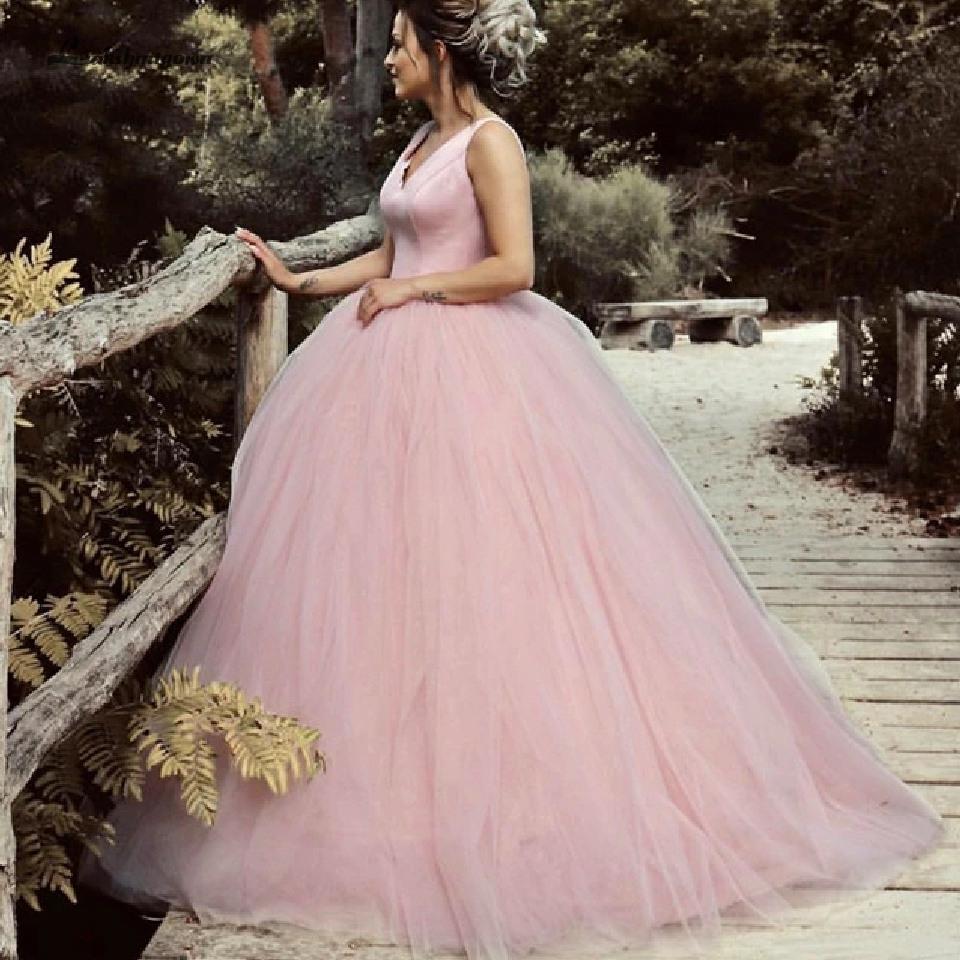 Us $113.89 33% Off Lakshmigown Satin V Neck Tulle Ball Gown Wedding Dresses  2020 Baby Pink Elegant Bridal Dress Wedding Gowns Hochzeitskleid Wedding