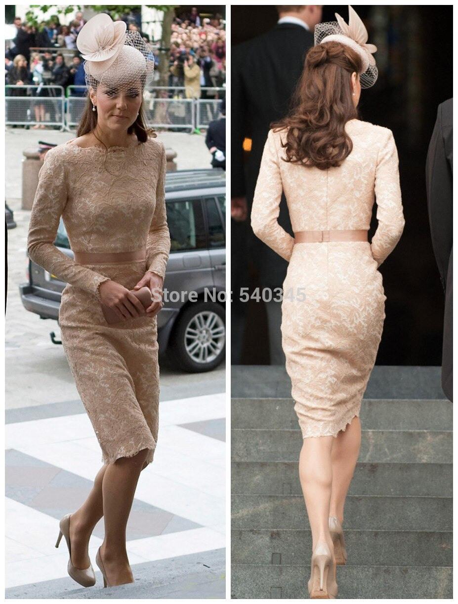 Us $120.0 |Kate Middleton Schöne Spitze Mutter Hochzeit Kleider Langarm  Mantel Scoop Knielangen Abendkleid Celebrity Kleider 2014 K17-In Von