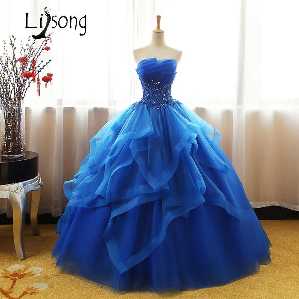 Us $120.93 13% Off|Königsblau Trägerlosen Abendkleid Lange Bodenlangen  Ballkleider Traum Einzigartige Prinzessin Formale Kleid Frauen Promi  Geburtstag