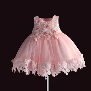Us $14.24 25% Off Neue Geboren Baby Mädchen Kleid Rosa Spitze Baby Hochzeit  Party Ballkleid Perle Ärmelloses Mädchen Weihnachten Kleidung Vestido