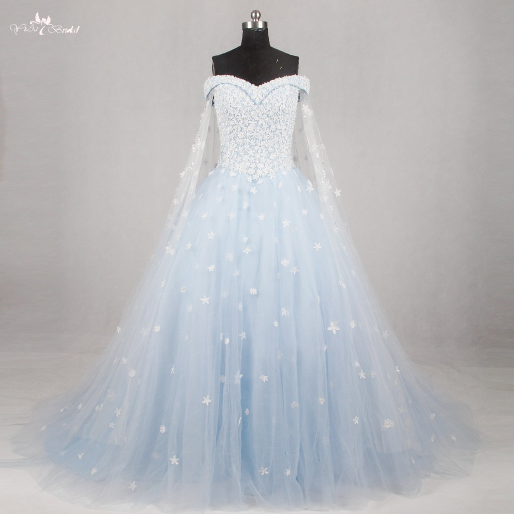 Us $143.56 |Rsw1134 Hellblau Hochzeitskleid Kleid 2016 Weg Von Der Schulter  Kurzen Ärmeln-In Brautkleider Aus Hochzeiten Und Feierliche Anlässe Bei