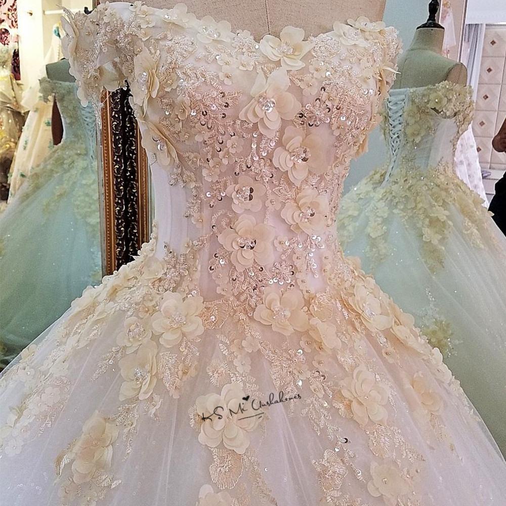 Us $150.75 25% Off|Champagne Blumen Türkei Vintage Hochzeit Kleid 2018  Puffy Ballkleid Braut Kleider Vestido De Noiva Spitze Plus Size