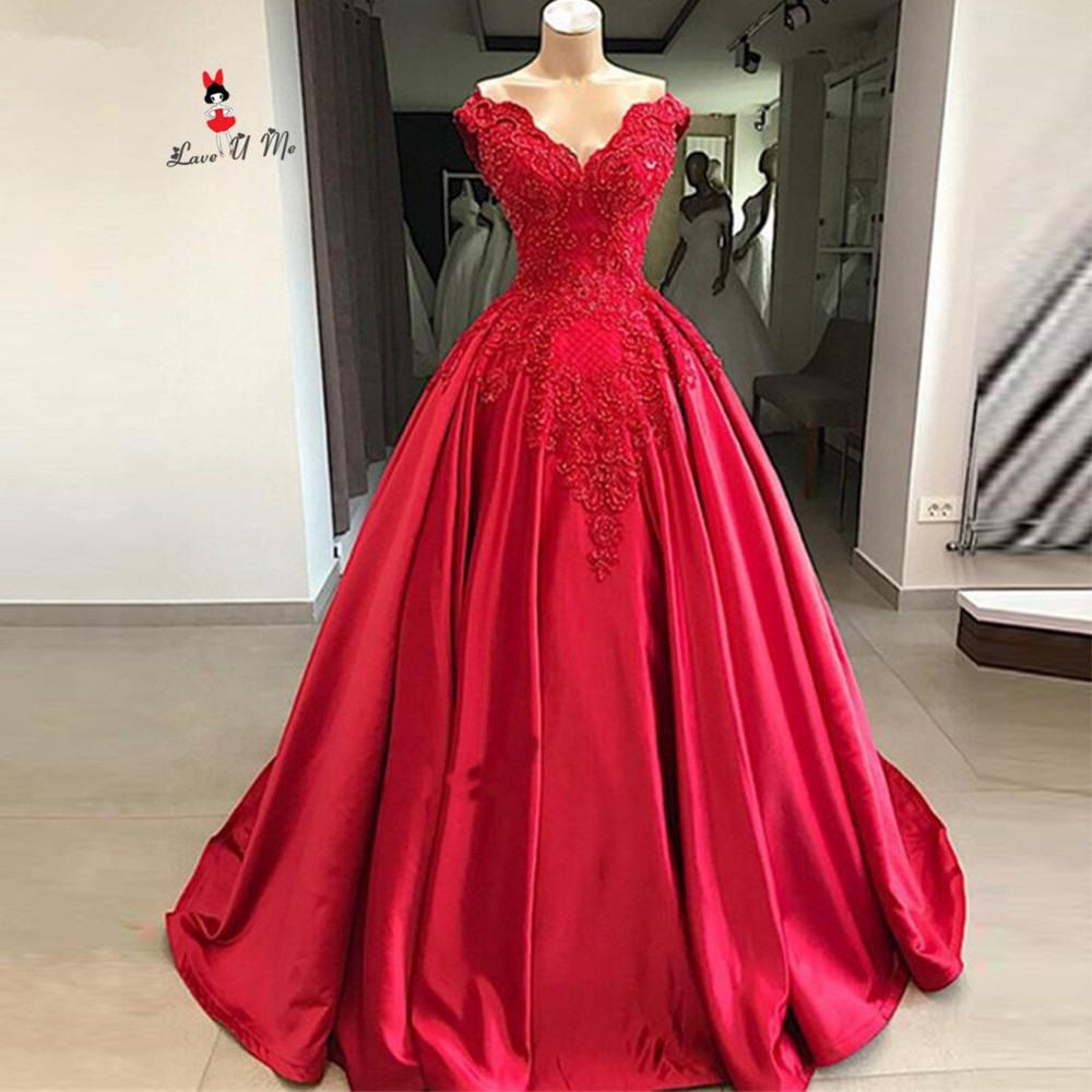 Us $162.6 25% Off Indische Kirche Rot Hochzeit Kleid 2020 Spitze Ballkleid  Hochzeit Kleider Korsett Zurück Luxus Perlen Braut Kleider Vestido De
