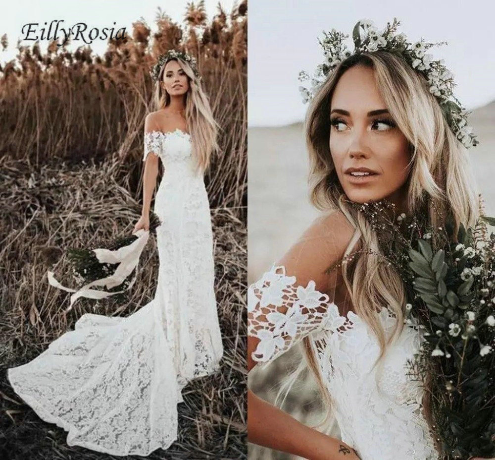 Us $173.44 36% Off|Country Style Boho Wedding Dress Mermaid Off The  Shoulder Short Sleeve Lace Bridal Gowns Outdoor Vestido De Noiva Boho