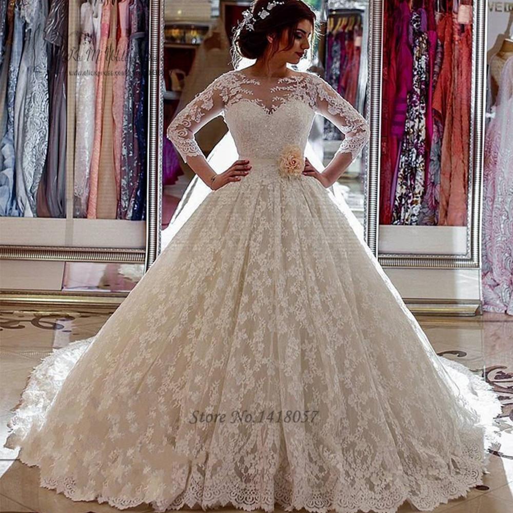 Us $219.75 25% Off|Vestido De Noiva De Renda Puffy Luxus Brautkleider  Türkei Arabische Braut Kleid 2017 Lange Hülsen Spitze Hochzeitskleider  Kapelle