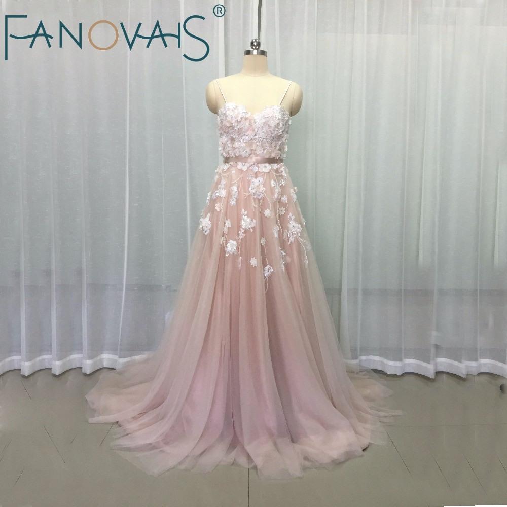 Us $222.19 21% Off|Vintage Erröten Rosa Hochzeit Kleider Blume Perlen  Strand Boho Brautkleider Robe De Maree Elegante Hochzeit Kleider Tüll  Hochzeit