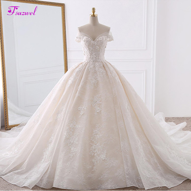 Us $247.99 38% Off|Vestido De Noiva Appliques Spitze Blumen Prinzessin  Hochzeit Kleider 2019 Schatz Hals Perlen Königlichen Zug Ballkleid Braut