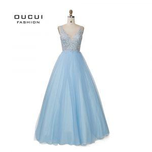 Us $248.0  Sky Blau Weiß Appliques Blumen Prom Kleider 2019 Sexy V  Ausschnitt Elegante Frauen Kleid Hochzeit Abend Vestido De Novia  Ol103448-In