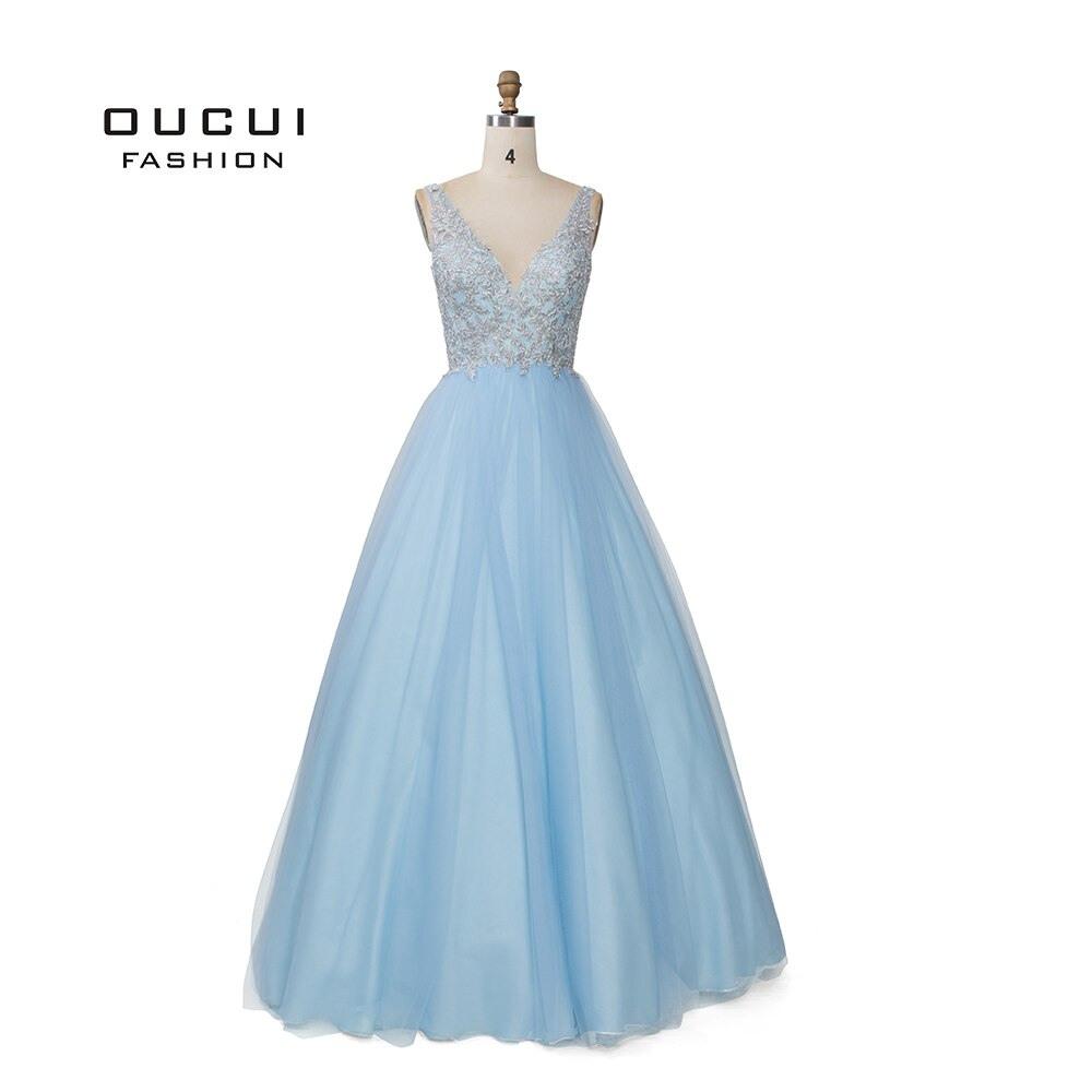 Us $248.0 |Sky Blau Weiß Appliques Blumen Prom Kleider 2019 Sexy V  Ausschnitt Elegante Frauen Kleid Hochzeit Abend Vestido De Novia  Ol103448-In