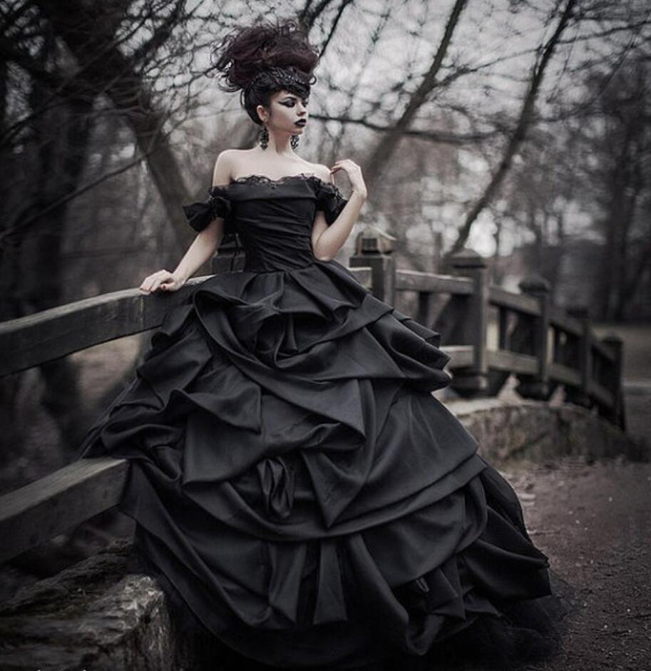 Us $299.92 8% Off|Schwarz Ballkleid Githic Vintage Satin Hochzeit Kleider  Weg Von Der Schulter Satin Bunte Nicht Weiß Brautkleider Vestidos De