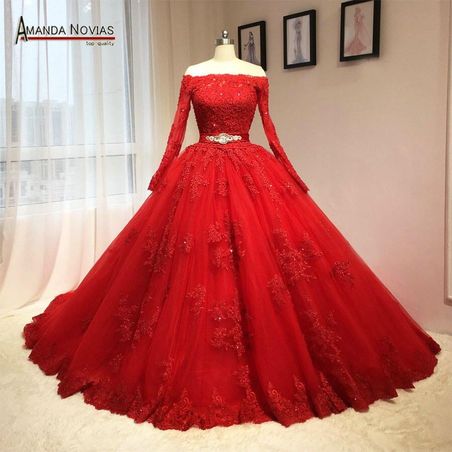 Us $337.46 6% Off|2018 Neueste Rote Hochzeit Kleid Puffy Ballkleid Langen  Ärmeln Muster-In Brautkleider Aus Hochzeiten Und Feierliche Anlässe Bei