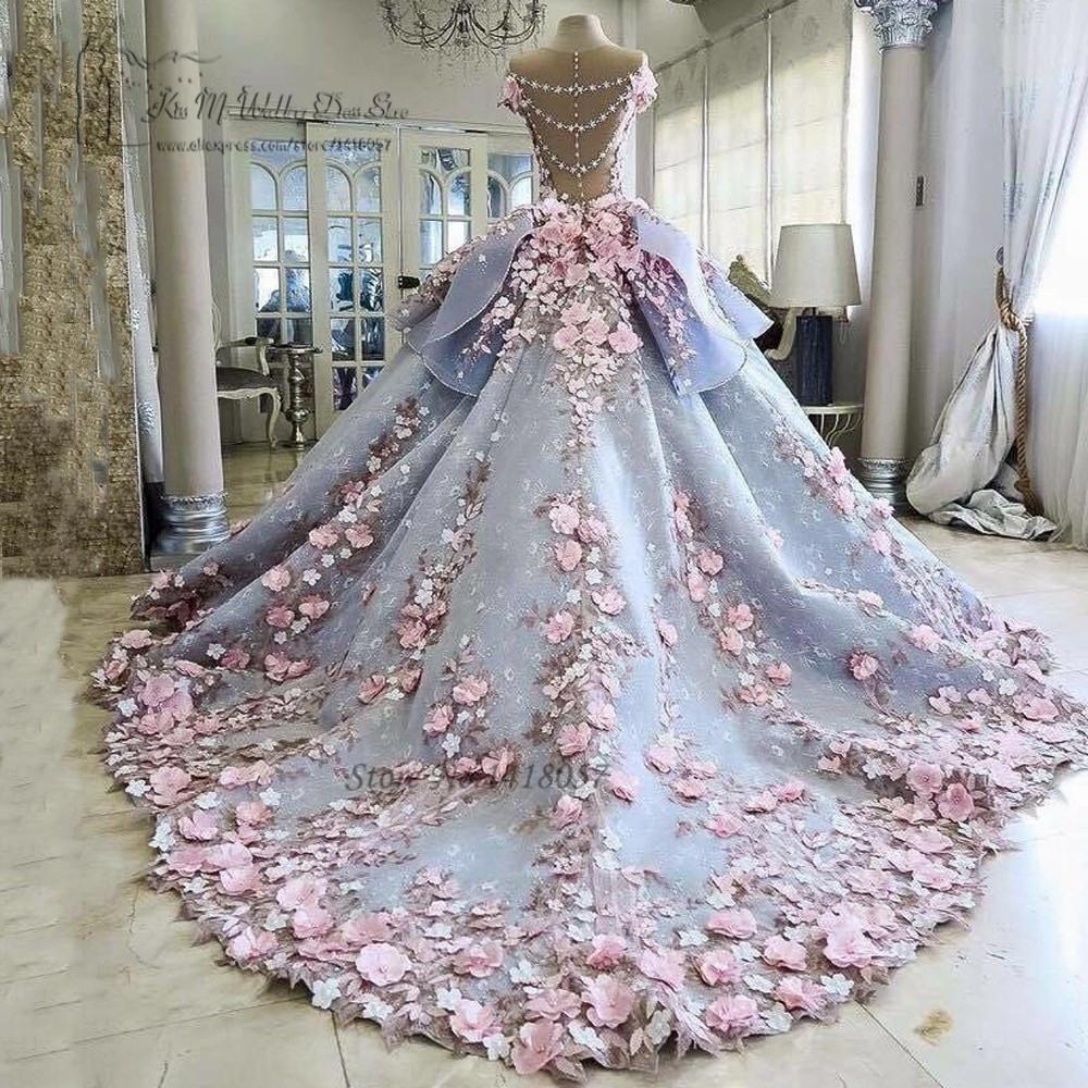 Us $339.0 25% Off|Bunte Luxus Hochzeit Kleider Rosa Blumen Verträumten  Ballkleid Hochzeit Kleider Prinzessin Braut Kleid 2017 Vestido De Noiva