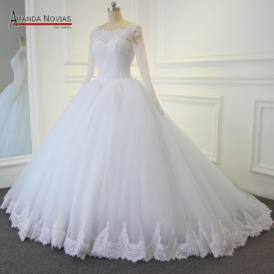 Us $356.0 |Wunderschöne Ballkleid Hochzeit Kleider 2019 Puffy Spitze Perlen  Applique Weiß Langarm Arabischen Brautkleider Robe De Mariage-In