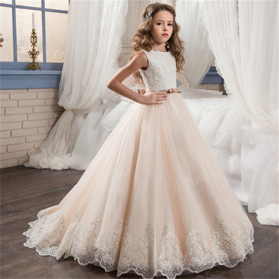 Us $48.02 31% Off|Licht Champagne Pailletten Spitze Perlen Applique Blume  Mädchen Kleider Für Hochzeit Mädchen Erste Heilige Kommunion Kleider Für