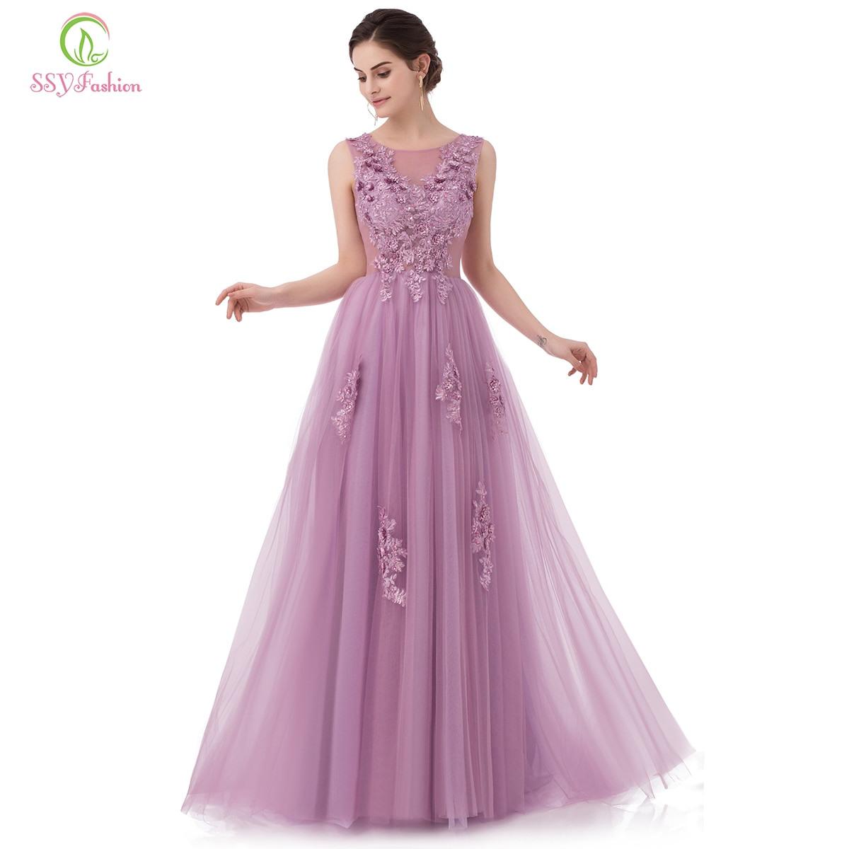 Us $57.85 35% Off|Ssyfashion Neue Süße Spitze Abendkleid Lila Rosa  Appliques Mit Perlen Ärmellose Bodenlangen Lange Prom Party Kleider-In  Abendkleider
