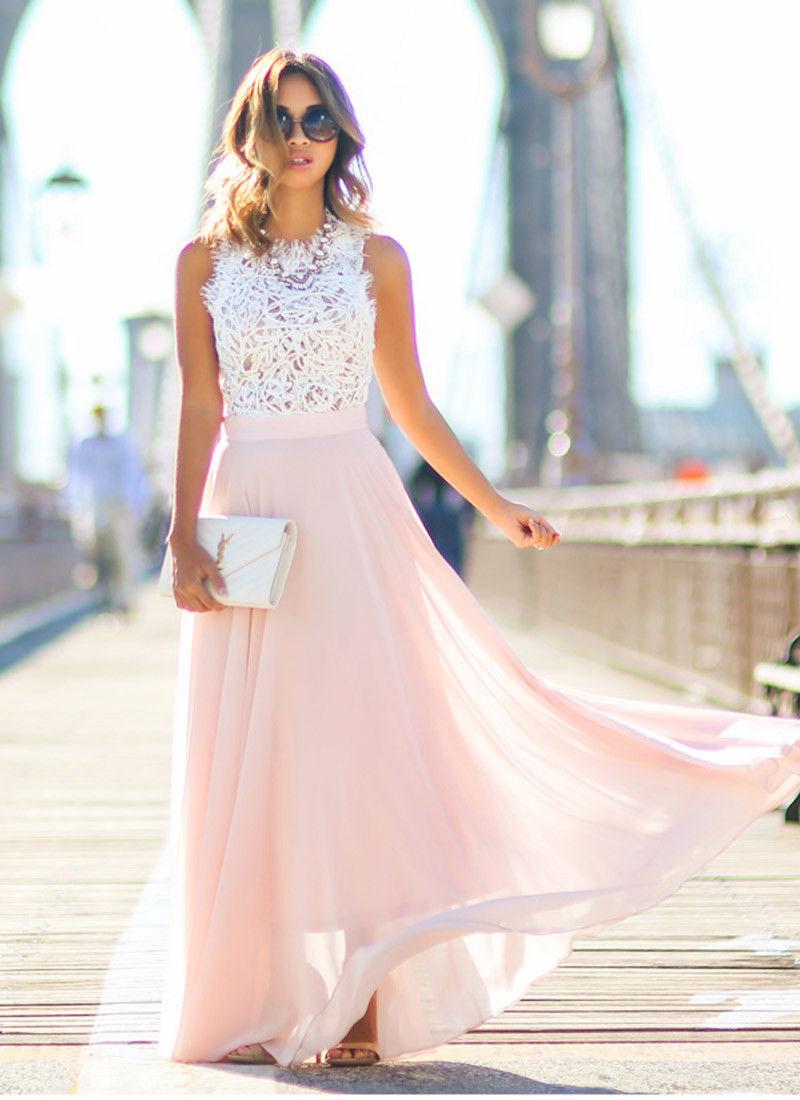 Us $6.02 8% Off|Neue Elegante Chiffon Formale Hochzeit Brautjungfer Lange  Partei Ball Abendkleid Kleid Damen Ärmellose Lange Kleider-In Kleider Aus