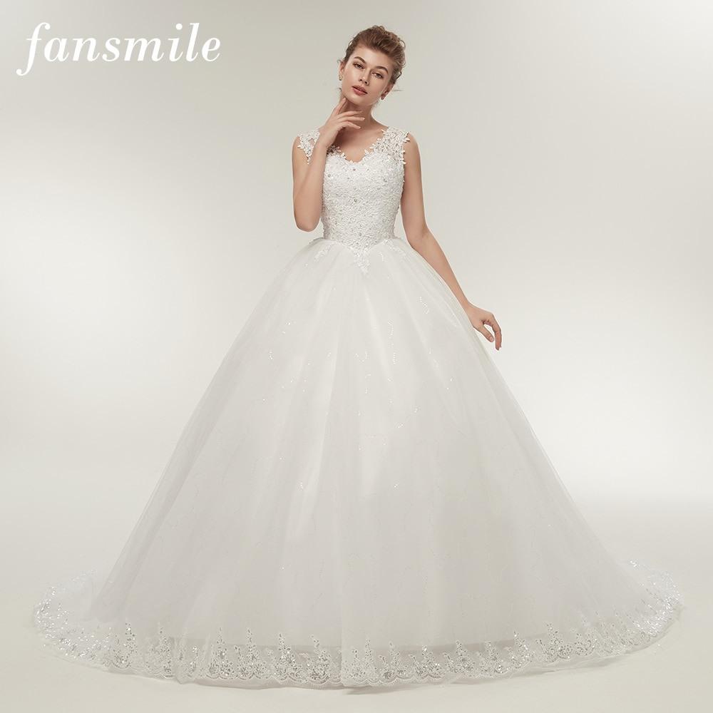 Us $77.59 25% Off|Fansmile Doppel Schulter Lange Zug Spitze Ball Hochzeit  Kleider 2020 Braut Kleid Plus Größe Angepasst Kleider Real Photo Fsm  008T-In