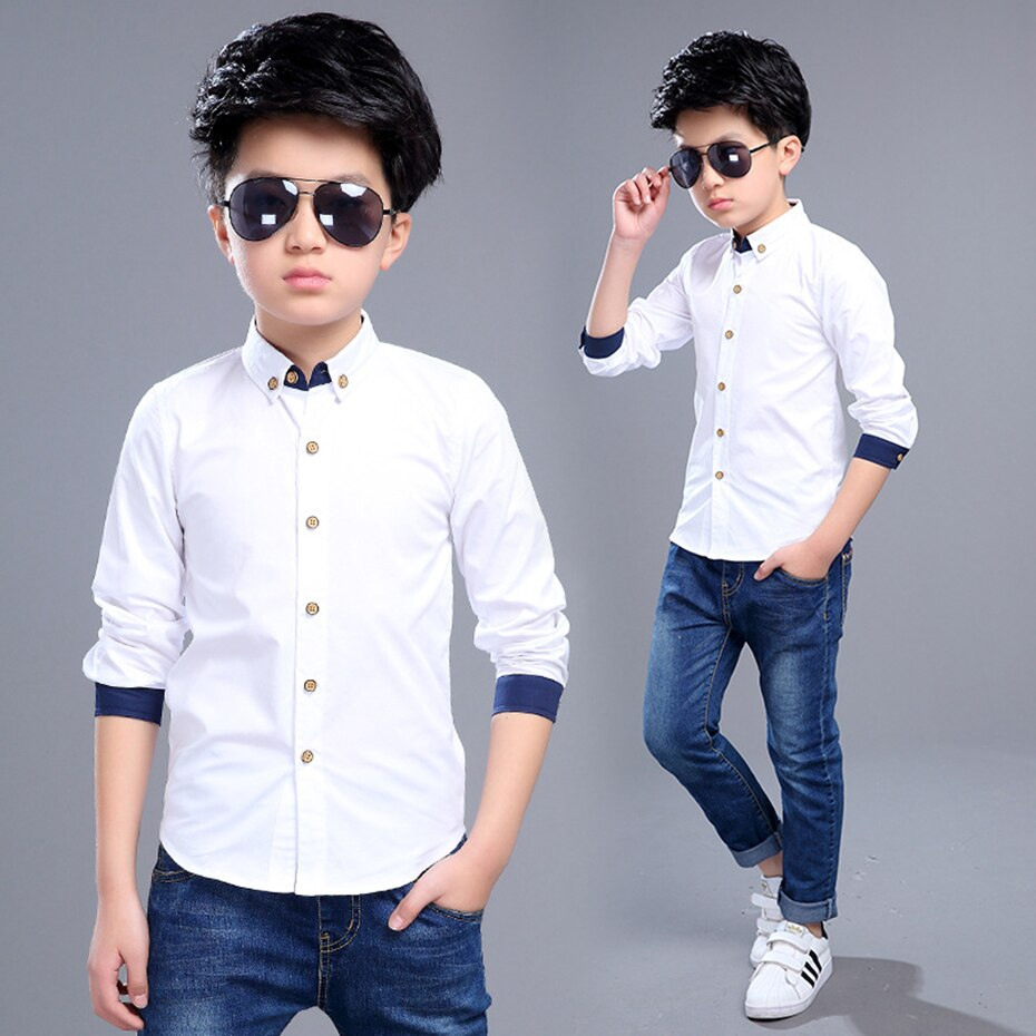 Us $9.4 40% Off|Aixinghao Jungen Weiß Shirts Frühling Kinder Hochzeit Hemd  Langarm Kinder Kleidung Teenager Schule Casual Junge Hemd Für 8 10 12