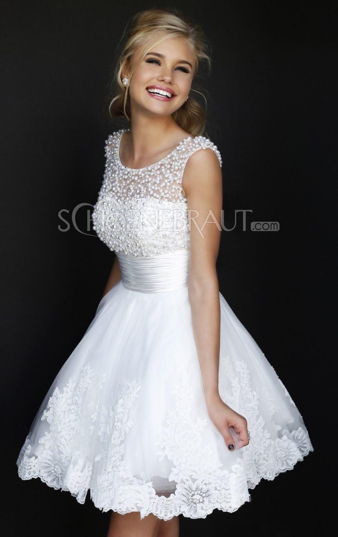 Verlobungskleider Weiße Kurze Brautkleider Elegante Spitze