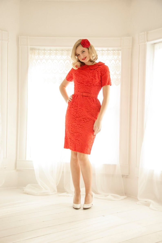 Vintage 1950Er Jahre Rote Spitze Kleid, Blumen Peter-Pan-Kragen, Kurzen  Ärmeln, Pin-Up-Prom Formal, Wackeln Xs S