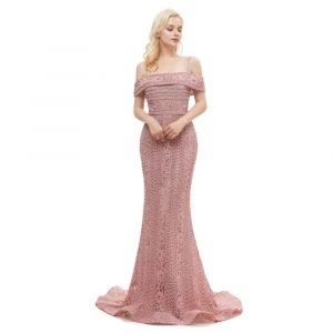 Vintage Festliche Kleider Cold Shoulder Abendkleid Meerjungfrau Altrosa  Spitze Mit Perlen