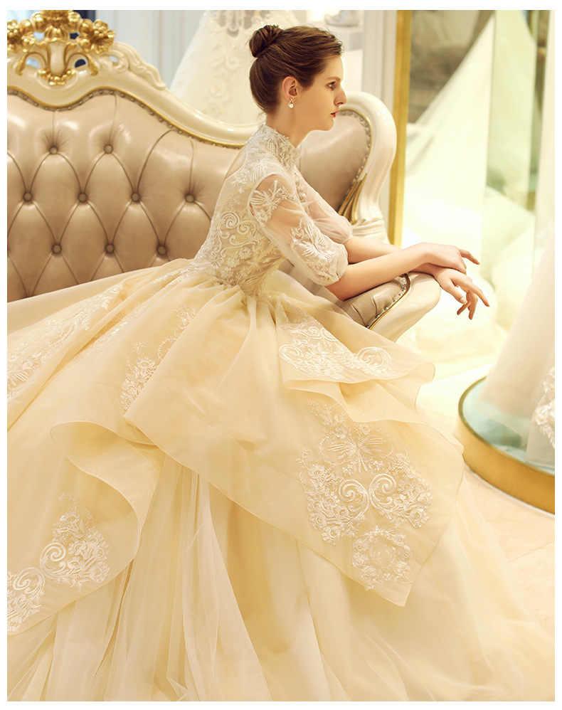 Vintage High-End-Licht Champagner Hochzeit Kleider 2020 Ballkleid High Neck  Kleider Vestido De Noiva Prinzessin Brautkleid